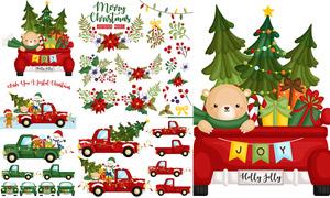 皮卡车上的雪人等圣诞创意矢量素材