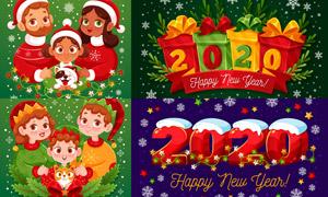 卡通人物与新年立体字创意矢量素材