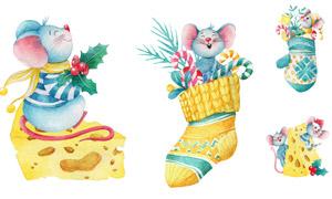 可愛水彩風小老鼠水彩插畫矢量素材