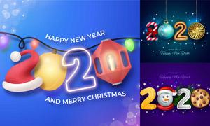 圣诞帽挂球元素装饰的数字矢量素材