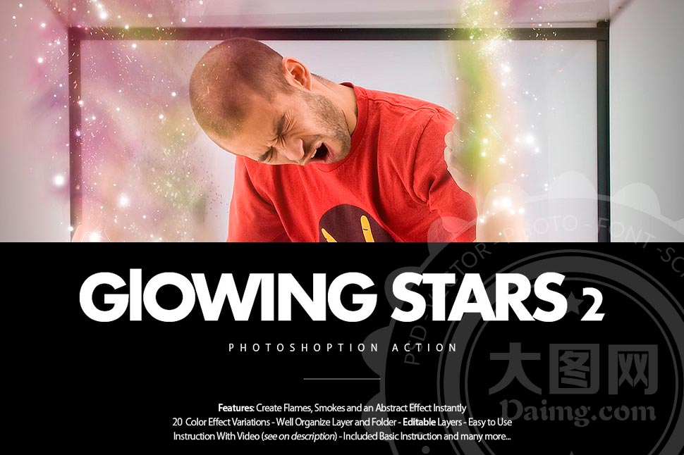 数码照片添加梦幻星星装饰背景PS动作