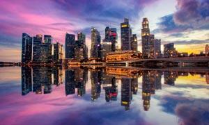 新加坡滨海湾美丽夜景摄影图片