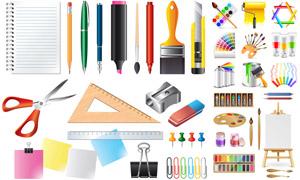 調色板與鉛筆等文具用品主題矢量圖