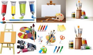 顏料調色板等繪畫工具主題矢量素材