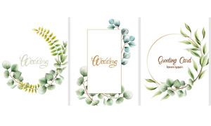 绿叶花朵元素边框创意设计矢量素材