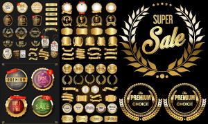 金色豪华尊贵质感标签矢量素材集V3