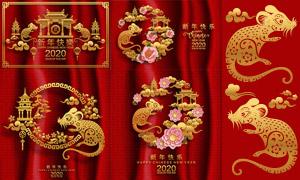 古典传统鼠年设计元素主题矢量素材