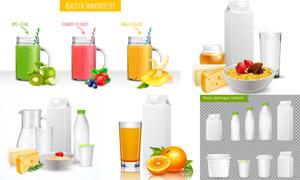 果汁與牛奶等產品包裝設計矢量素材