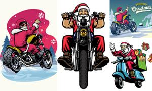 骑着摩托车的圣诞老人创意矢量素材