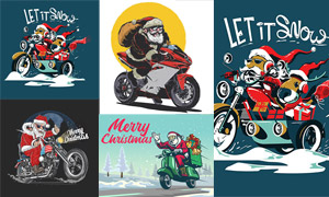 骑摩托送礼物的圣诞老人创意矢量图