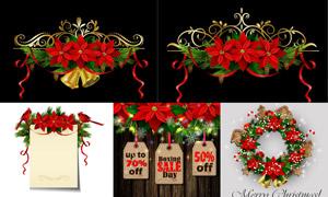 小鸟树枝铃铛等圣诞节元素矢量素材
