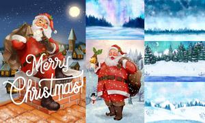 圣诞老人与冬日的雪景插画矢量素材