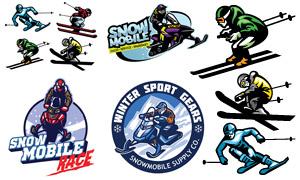 冰雪运动人物元素标志设计矢量素材