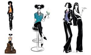 時尚服飾人物模特插畫創意矢量素材
