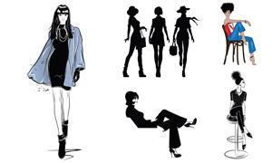 身材高挑服飾模特人物插畫矢量素材