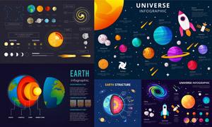炫彩配色航天星球信息图表矢量素材
