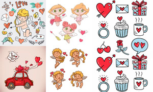 浪漫情人节插画元素创意矢量图集V02