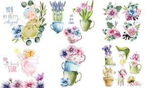 水彩花草植物与天使等创意矢量素材