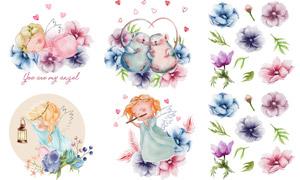 水彩花朵天使与小老鼠创意矢量素材