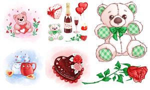 玩具熊与蛋糕等情人节创意矢量素材