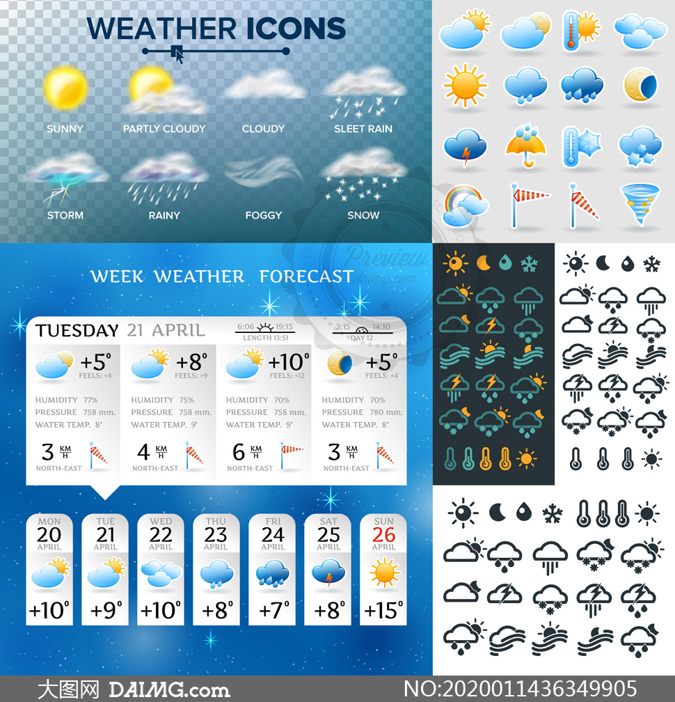 雨雪等天气图标主题创意设计矢量图