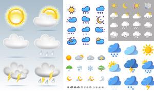 晴雨雪等多种天气图标设计矢量素材
