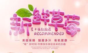 新鲜草莓宣传海报设计PSD源文件