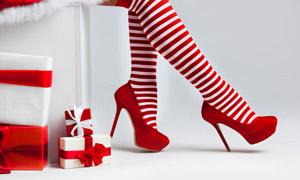 条纹袜装圣诞美女特写摄影高清图片