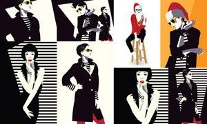 条纹元素黑白模特人物插画矢量素材