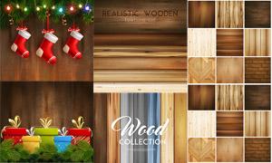 圣诞袜礼物盒与木纹背景等矢量素材