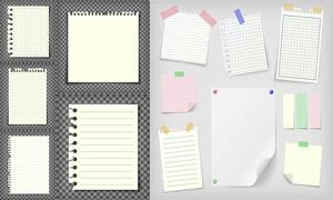 不同样式的学习用纸张主题矢量素材