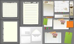 信封与空白的纸张主题设计矢量素材