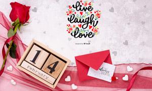 丝带玫瑰装饰的明信片样机分层模板