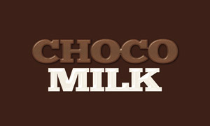 巧克力牛奶质感立体字贴图分层模板