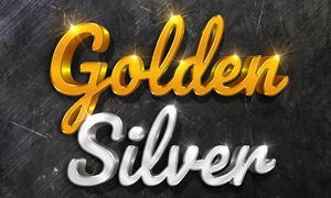 金色与银色的金属字模板分层源文件