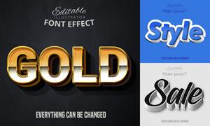 多种风格立体字效果矢量素材集合V01