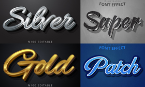 多种风格立体字效果矢量素材集合V04