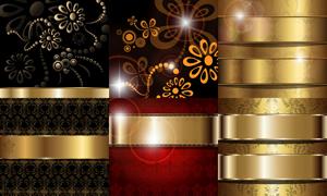 金色花纹元素背景创意设计矢量素材