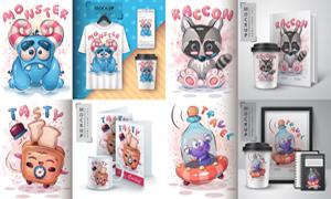 卡通圖案及應用效果矢量素材集V01