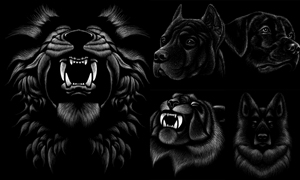 咆哮的狮子等动物粉笔绘画矢量素材