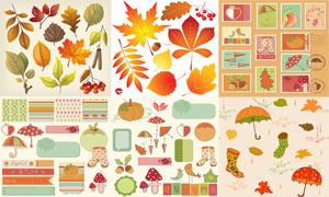 邮票与秋天的叶子等剪贴画矢量素材