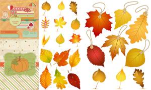 蘑菇雨伞与树叶等秋天元素矢量素材