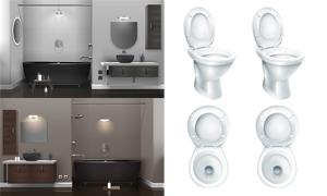 浴室马桶与浴缸等物品摆放矢量素材