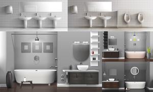 盥洗室与公共卫生间等内景矢量素材
