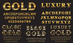 黑色背景金色英文字体设计矢量素材