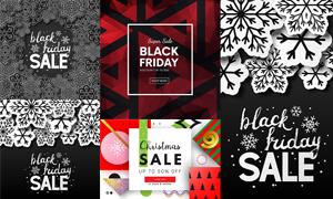 黑白雪花圖案黑五圣誕創意矢量素材