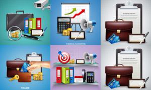 公文包與計算器等商務物品矢量素材