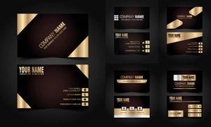 金色与棕色搭配的名片设计矢量素材