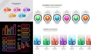 霓虹等效果信息图创意设计矢量素材