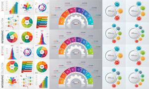 扇形图等多彩信息图表创意矢量素材